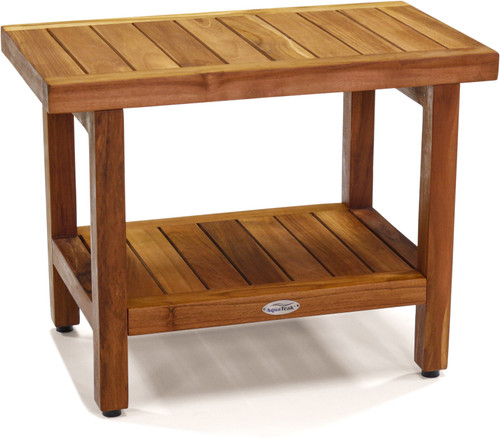 "24"" Wide Spa™ Teak Side Table with Shelf"