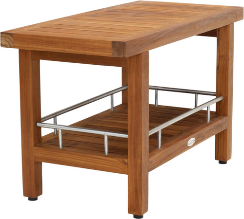 """30"""" Wide Spa™ Teak & Stainless Side Table with Shelf"""