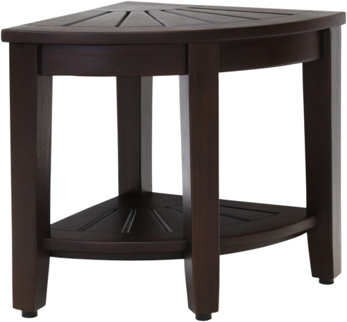 "15.5"" Wide  Kai™ Mocha Corner Teak Side Table with Shelf"