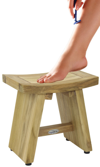 "13"" Asia® Raw Teak Shaving & Washing Foot Rest"