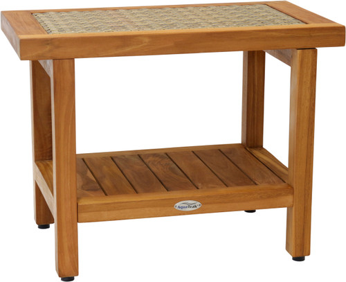 "24"" Spa™ Fusion Teak Shower Bench with Shelf (Natural Weave)"