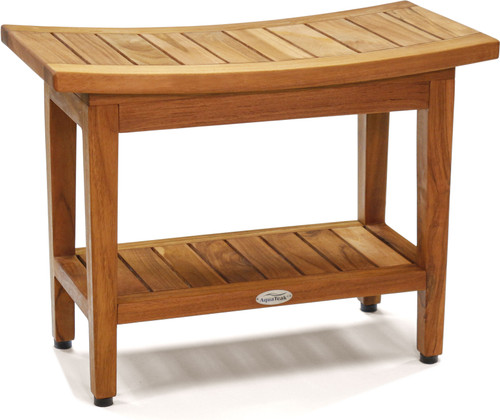 "Patented 24"" Maluku™ Teak Shower Bench with Shelf"