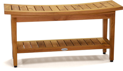 "Patented 36"" Maluku™ Teak Shower Bench with Shelf"
