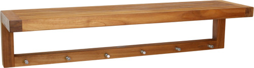 "36"" Moa™ Teak Wall Shelf with Hooks"