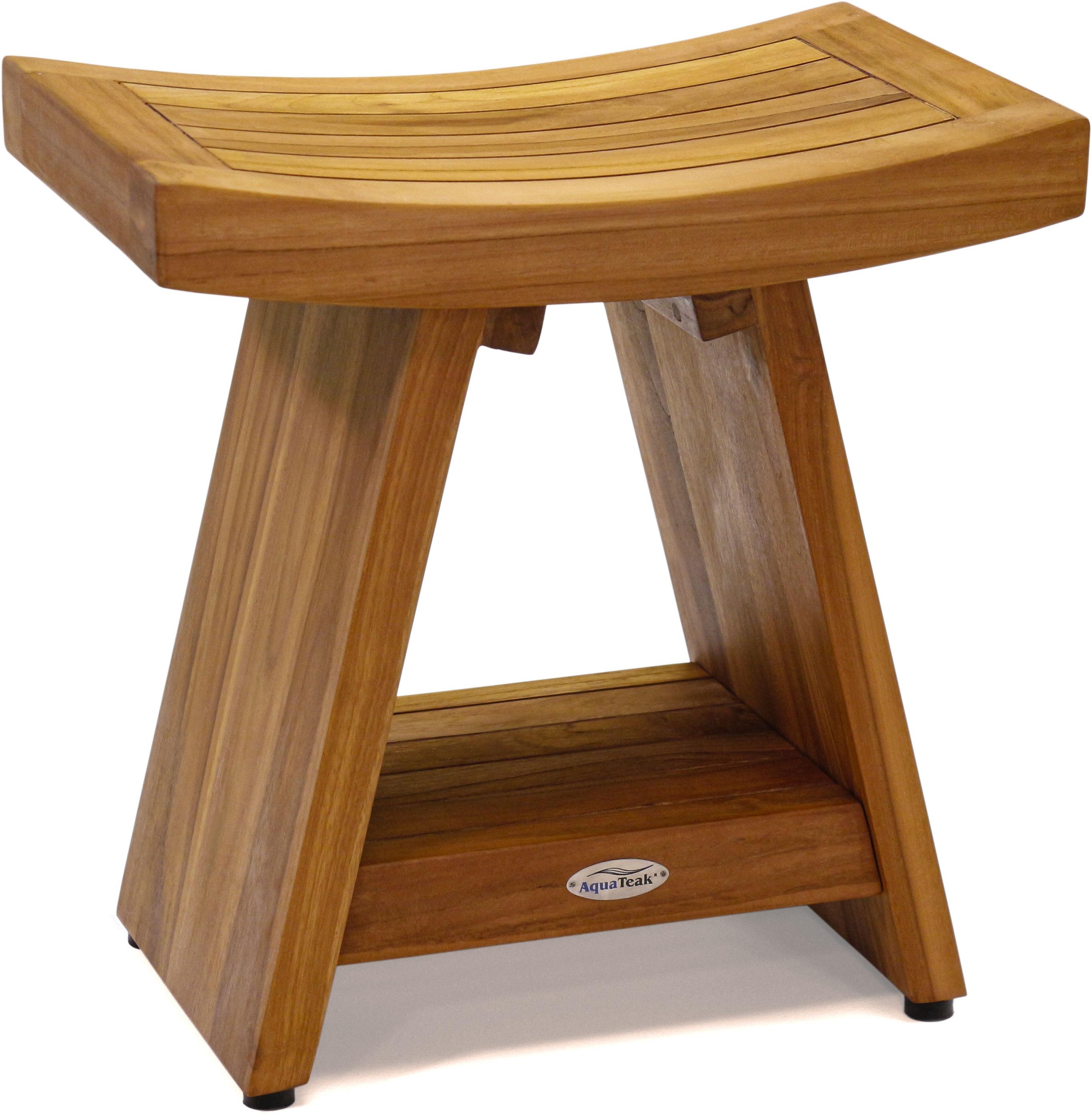 18 Asia Teak Shower Bench With Shelf Modern Teak Seating I Aquateak