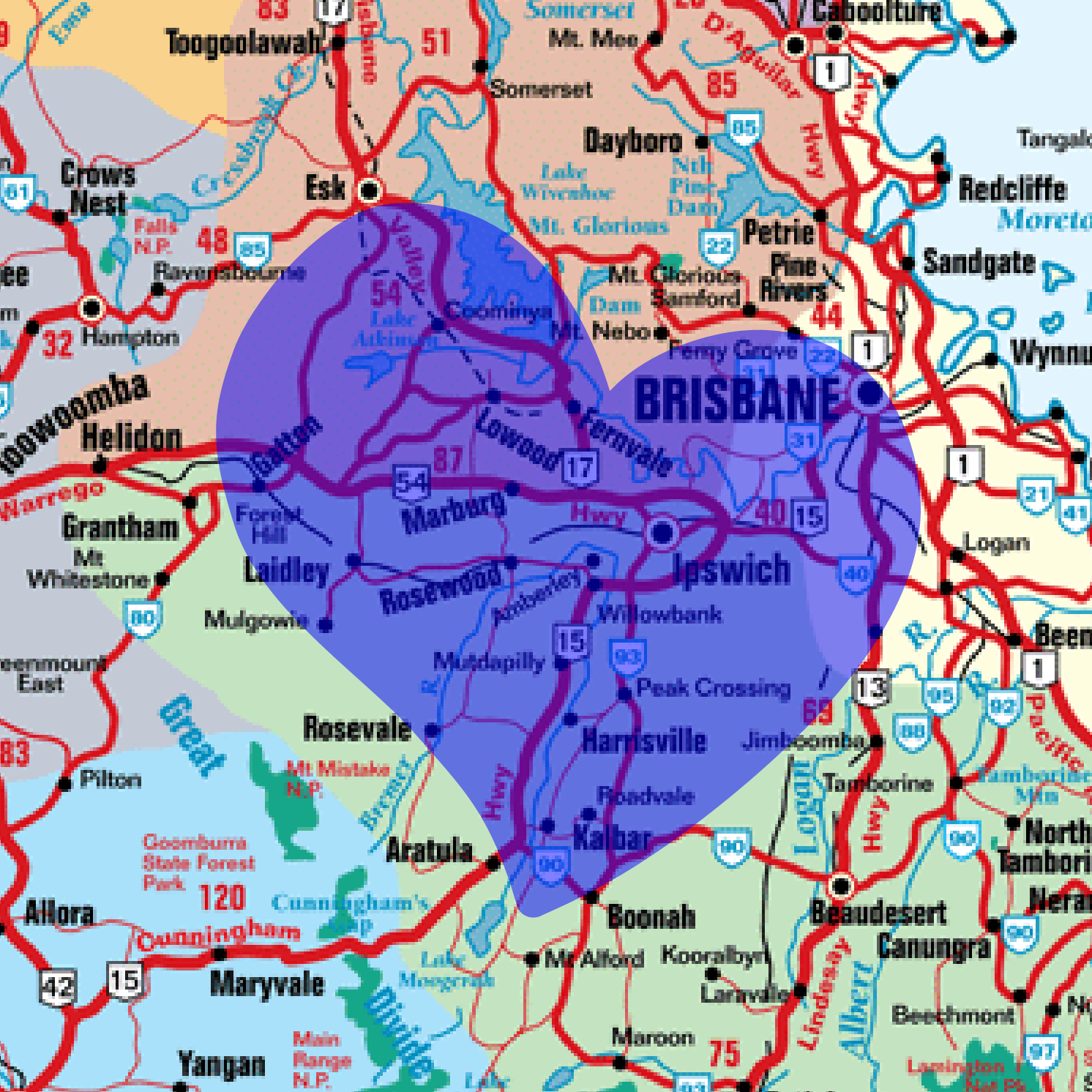 A map with a blue love heart shape over our service areas in Ipswich and Brisbane