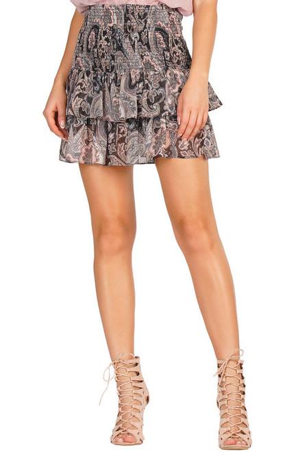 Paisley Print Smocked Skirt