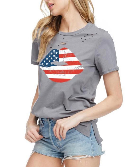 Americana Lips Graphic Top