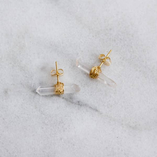 Quartz Crystal Wrapped Earrings