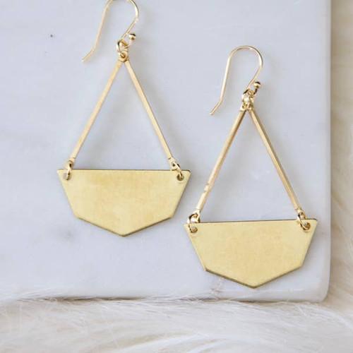 Hexagon Brass Earrings