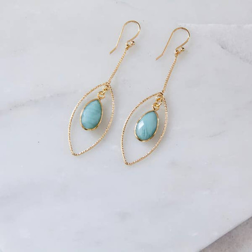 Faceted Green Marquise Drop Earrings