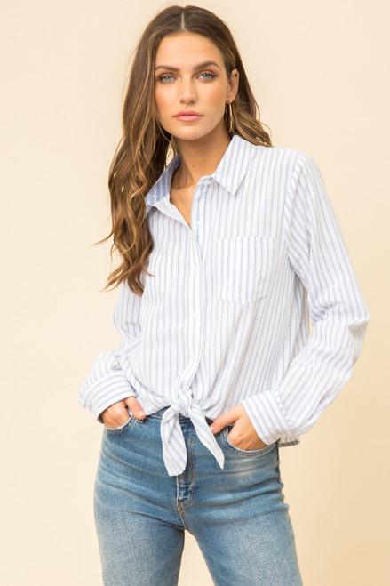 Austin Tie Front Stripe Shirt