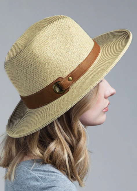 Montana Faux Leather Belted Hat