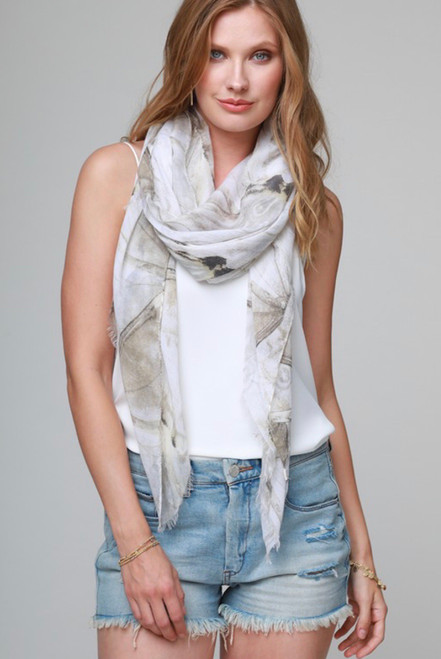 Watercolor Floral Print Oblong Scarf
