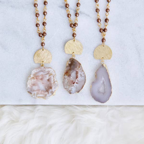 Geode And Pearl Long Necklace