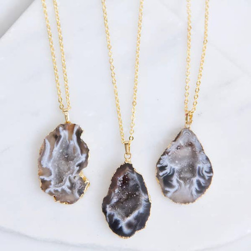 Geode Slice Long Necklace