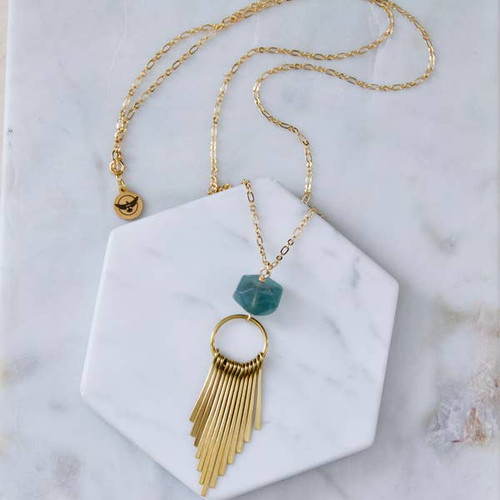 Fluorite Fringe Long Necklace