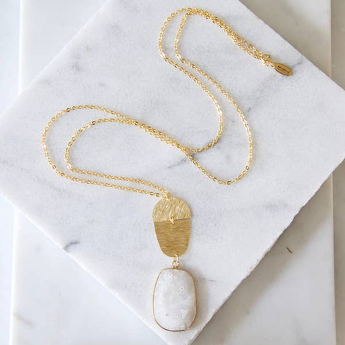 Brushed Gold Solar Quartz Long Necklace
