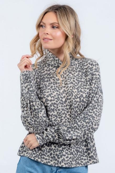 Leopard Love Mock Neck Top