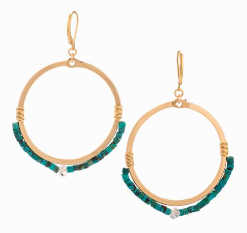 Ames 14K Gold & Turquoise Beads Hoop Earrings