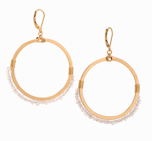 Lynx 14k Gold Herkimer Crystal Hoop Earrings