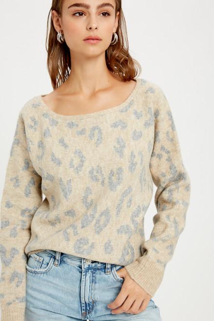 Beverly Leopard Boat Neck Sweater