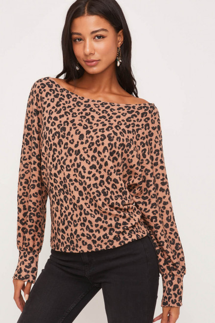 Janet Boat Neck Animal Print Top