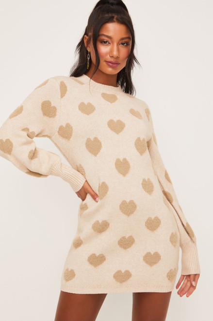 Furry Heart Mock Neck Dress