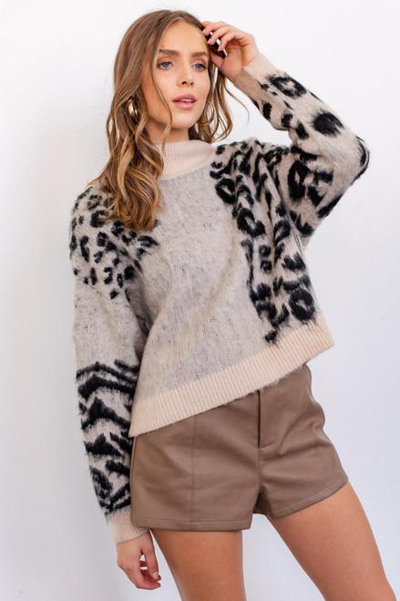Paris Animal Print Sweater