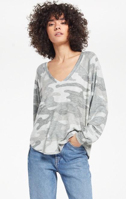 Plira Camo Slub Sweater Top