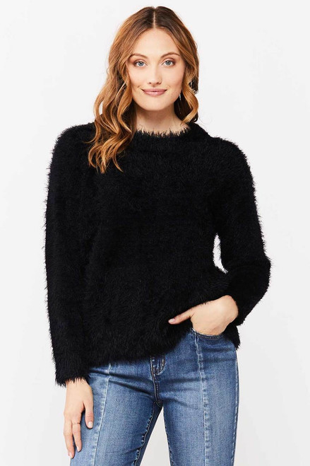 Brooklyn Eyelash Sweater, Black