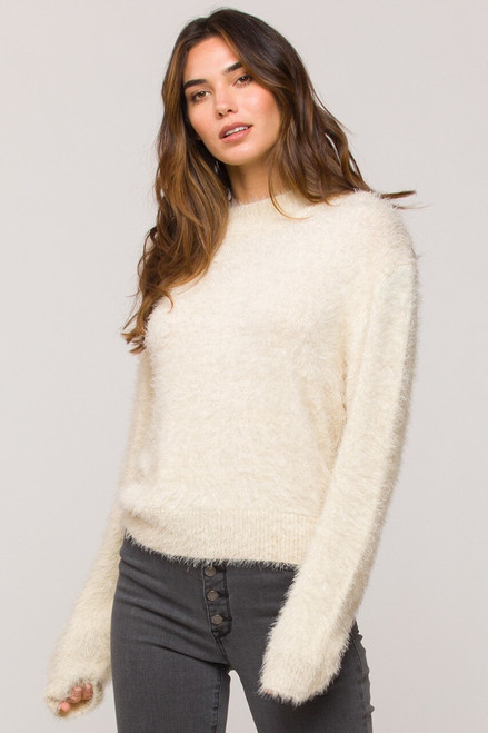 Brooklyn Eyelash Sweater, Ivory