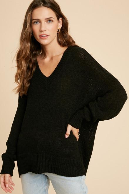 Landa Knit Sweater, Black