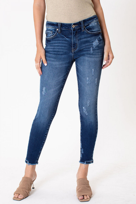 Marci Mid Rise Fray Hem Ankle Skinny Jeans