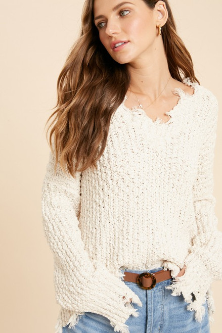Evelyn Chunky Knit Sweater, Natural