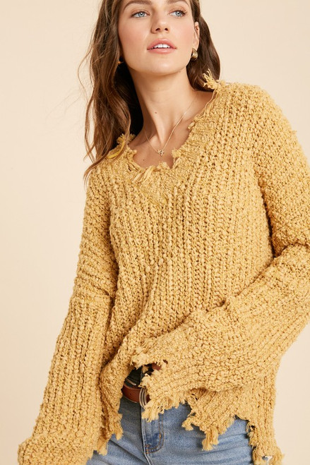 Evelyn Chunky Knit Sweater, Mustard