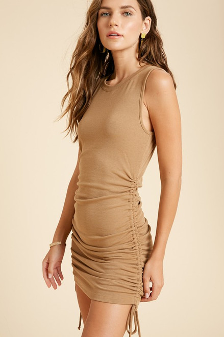 Anais Side Shirred Ribbed Dress, Camel