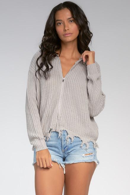 Raw Edge Sweater Top