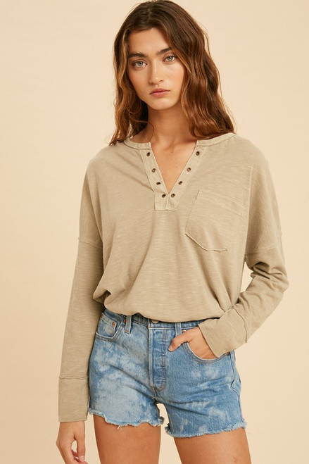 Marco Washed Eyelet Knit Top