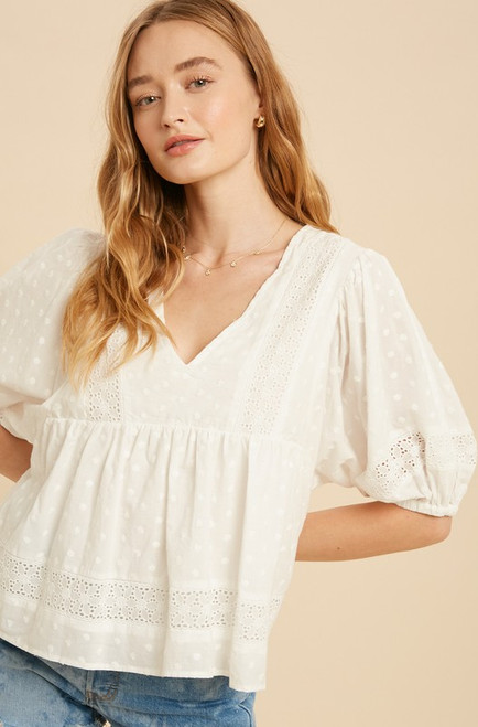 Margo Embroidered Babydoll Top, White