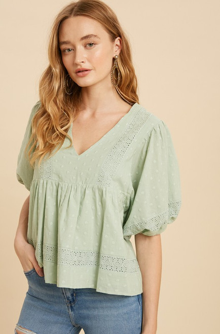 Margo Embroidered Babydoll Top, Seafoam
