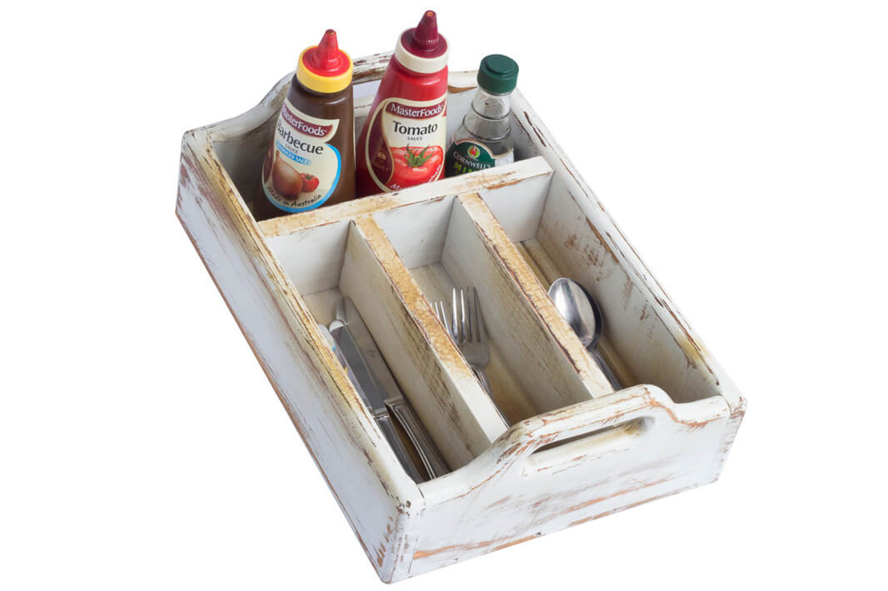 Silverware Caddy And Condiments Holder Wooden 4 Compartments