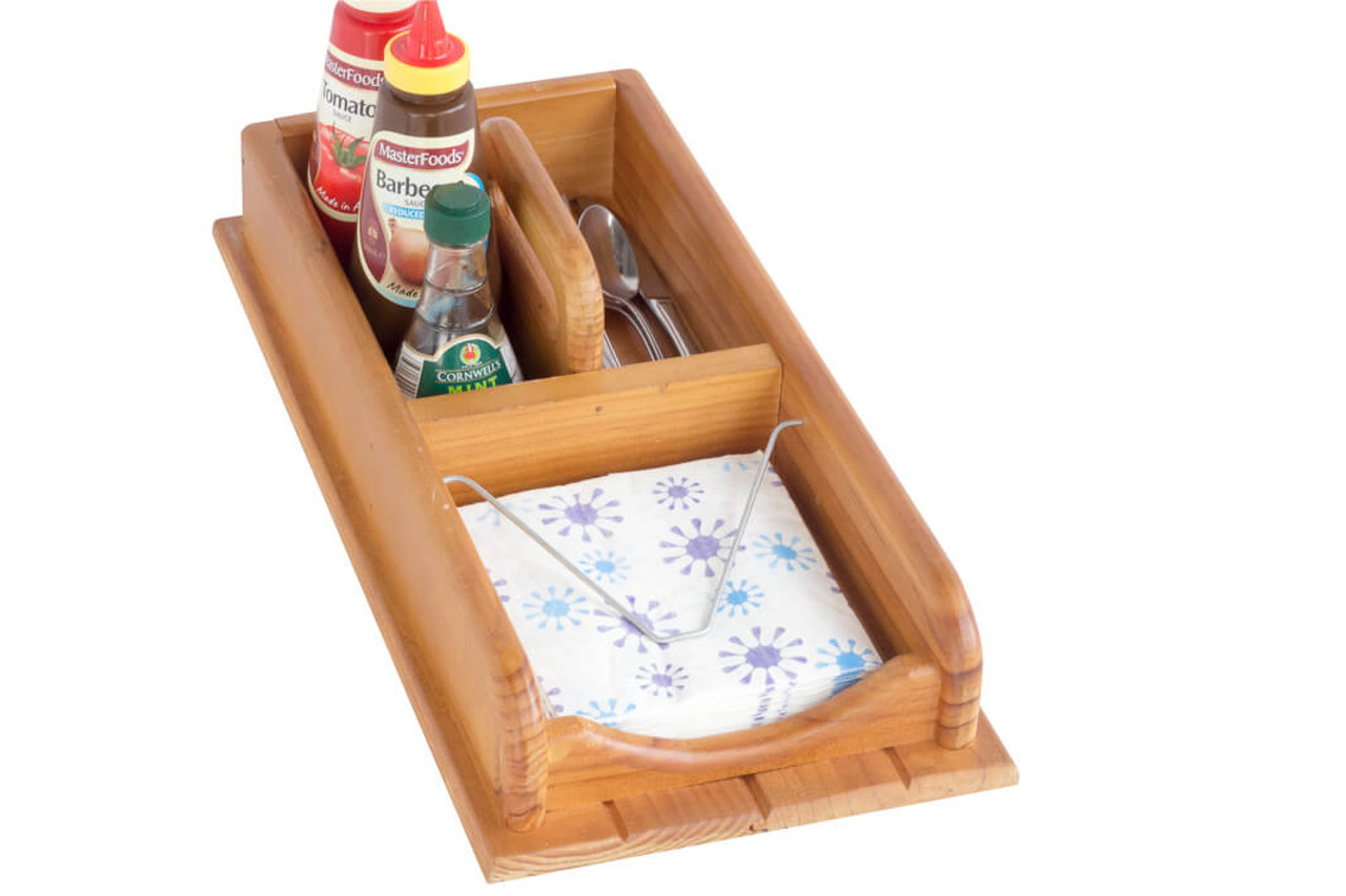 Silverware Caddy And Cocktail Napkin Holder Wooden 3 Compartments