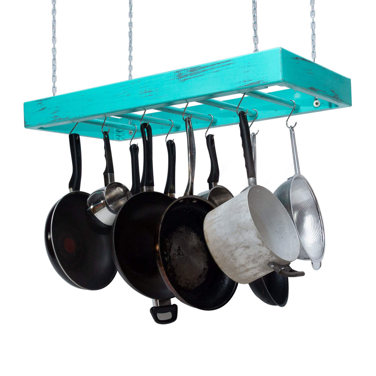 Hanging Pot Rack - Wooden - Ceiling Mounted - Rectangular ...