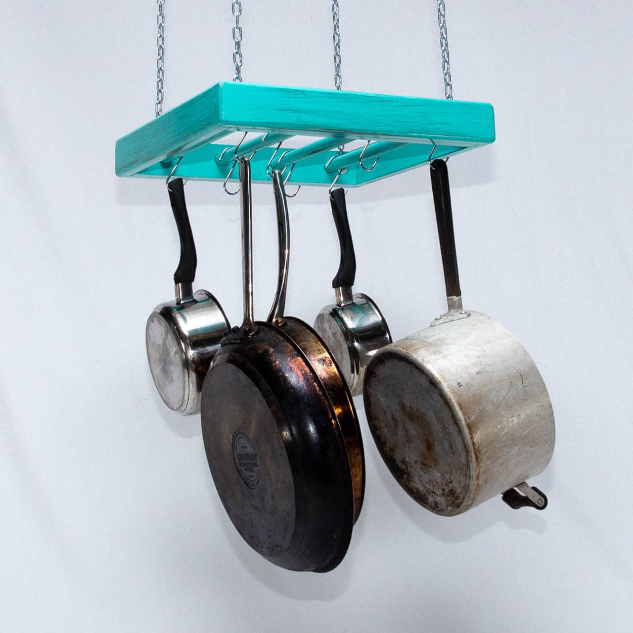 Hanging Pot Rack - Wooden - Ceiling Mounted - Square ...
