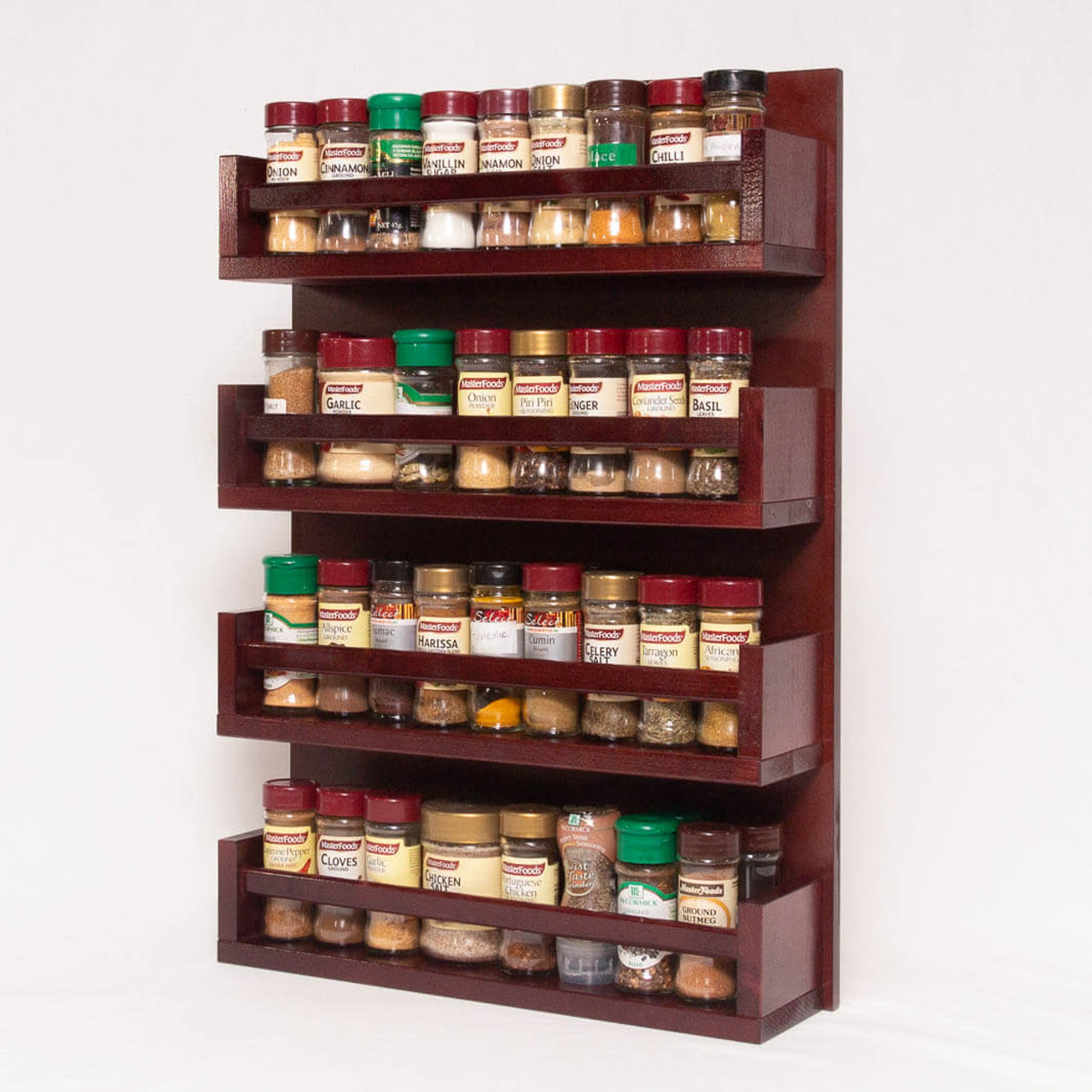 Spice Rack Wooden Open Top 4 Tiers Timber Rail 72 Spice Jars