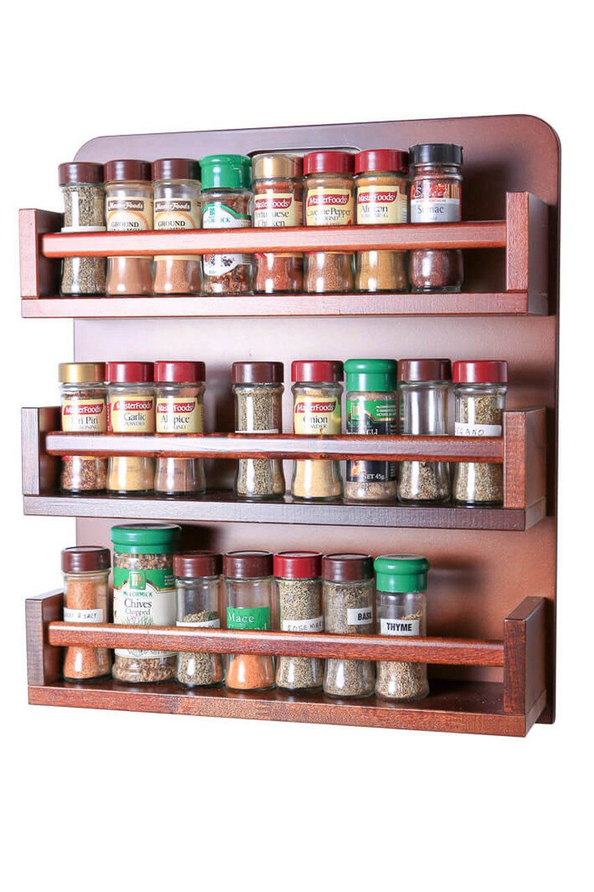 Spice Rack Wooden Open Top 3 Tiers Timber Rail