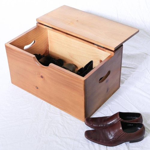 Storage Box - Wooden - Medium - Flat Top - Cut-out Handles
