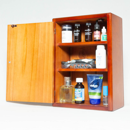 This wooden medicine cabinet is a practical storage solution when quick access is required to first aid supplies and medicines during household of office emergencies.
