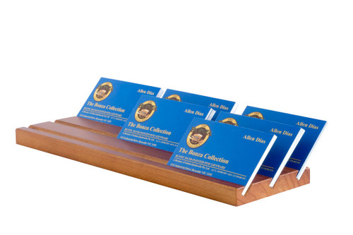 This sleek wooden business card holder displays business cards 3 abreast and is perfect for an office or co-sharing workspace to display and professionally showcase your business cards.